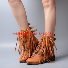 Women Autumn/Winter New Cow Split Leather Boots Fringed Round-toe Thick High Heel Boots British Tassel Martin Boots Botas Mujer