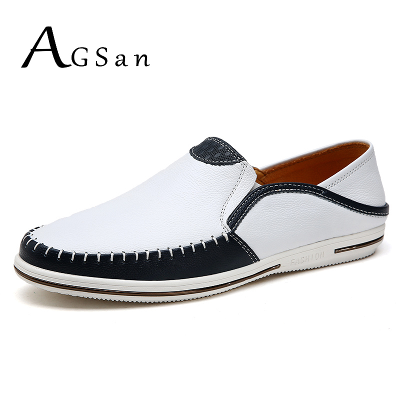 AGSan mens genuine leather shoes men luxury loafers white scarpe uomo estive handmade italian stitching driving loafers blue italy brand golden goose superstar shoes men woman low cut shoes genuine leather white ggdb shoes scarpe uomo di marca casual