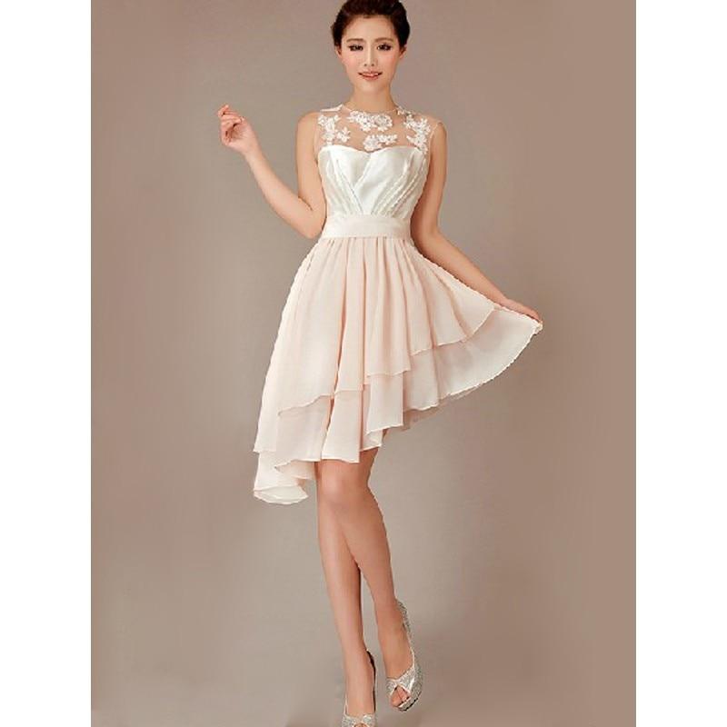 Light Champagne Hi Lo Lace Junior Bridesmaid Dress Cheap