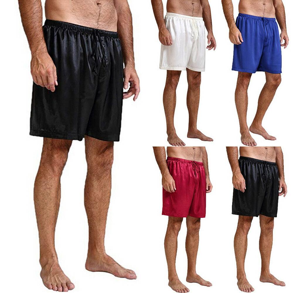 US Mens Satin Pajamas Shorts Sleep Bottoms Nightwear Sleepwear Short Pants