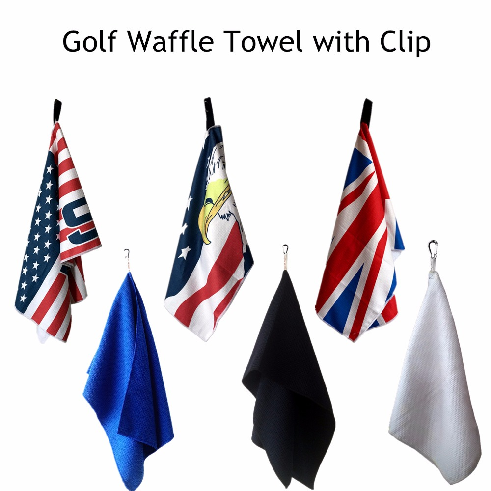 Golf Towel Microfiber Waffle Sports Hand Quick Drying 14''x42'' Inch Soft Ball Towels Cleaning Clips Hook To Bag Belt Easy Clean