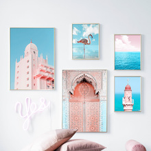 Pink Flamingo Morocco Door Spray Wall Art Canvas Painting Seascape Nordic Posters And Prints Pictures For Living Room Decor