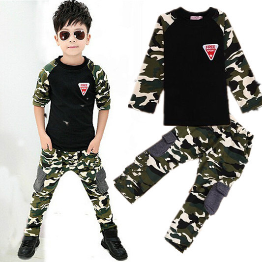 Children Clothing Sets 3-10 Years old Boys Cotton T shirts And Pants Camouflage Suit Girls Sportswear Sets Clothing Kids Clothes ad children s mickey thick sets 2 10 age cotton sweater pants boys girls christmas t shirts trousers kids clothing clothes