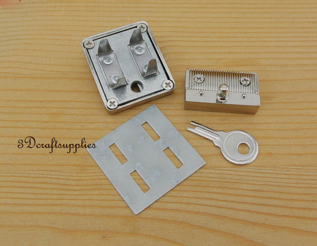 purse lock wallet Thumb latch tongue clasp silver 45 mm x 32 mm N33