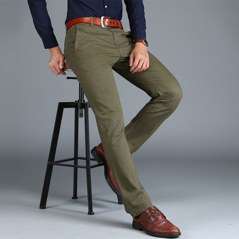Image 5 - Mens Chinos High Quality Cotton Casual Pants Stretch Male Trousers Man Long Straight Plus Size chinos pants-in Casual Pants from Men's Clothing