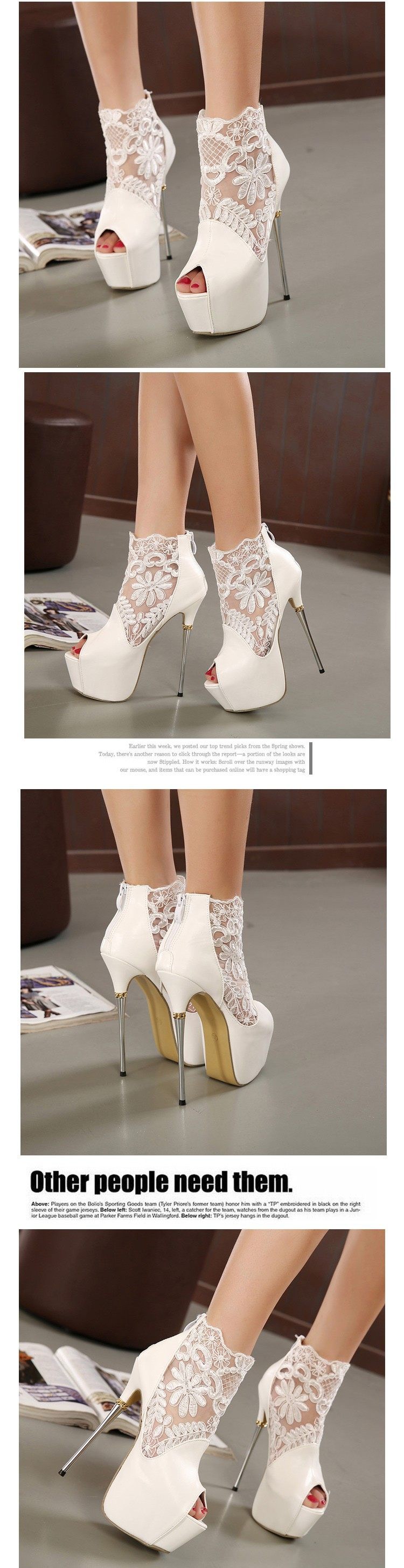 women summer boots 2016 lace pumps women party shoes platform pumps white wedding shoes stiletto heels open toe dress shoes C992 3