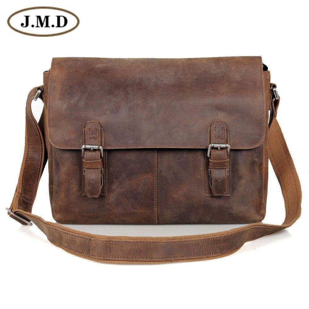 99b97fefd073 JMD Vintage Genuine Crazy Horse Leather Men's Messenger Bag Man Shoulder  Sling Bag 15 inch laptops