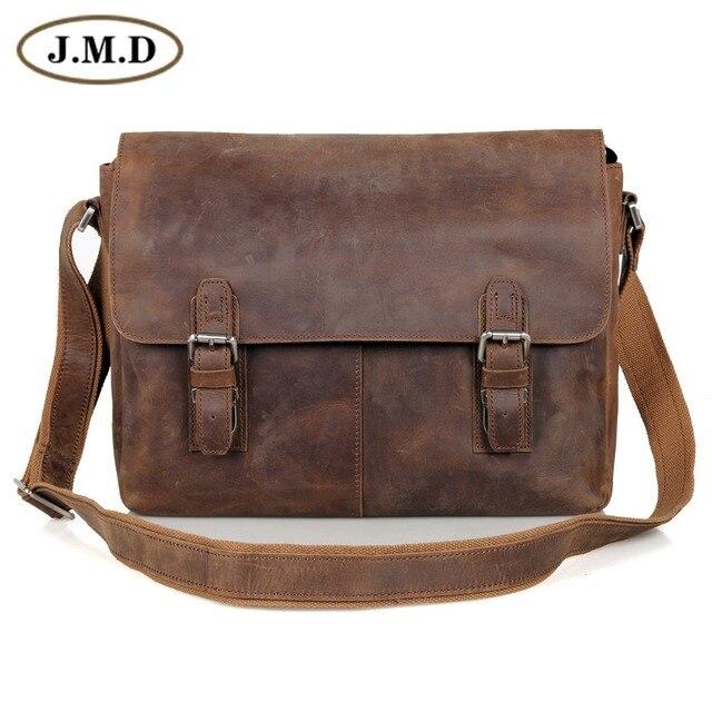 1e742a76f1e9 JMD винтажная натуральная Crazy Horse кожаная мужская сумка через плечо 15  дюймов Сумка для ноутбуков 6002LR