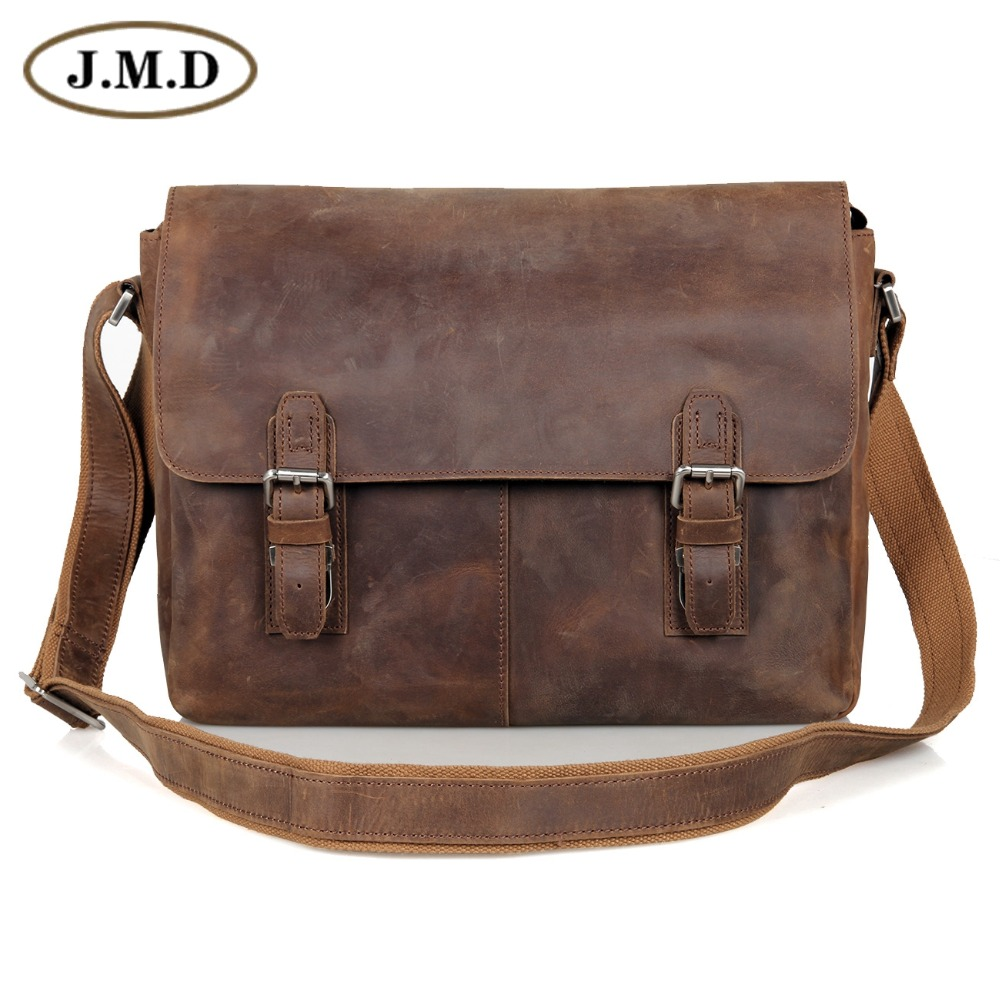 JMD Vintage Genuine Crazy Horse Leather Men's Messenger Bag Man Shoulder Sling Bag 15 inch laptops Bag 6002LR-2