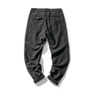 Image 3 - Vintage Britsh Style Mens Plaid Wool Blends Pants Autumn Winter Slim Fit Thick Warm Woolen Casual Trousers Suit Pants Men A5096