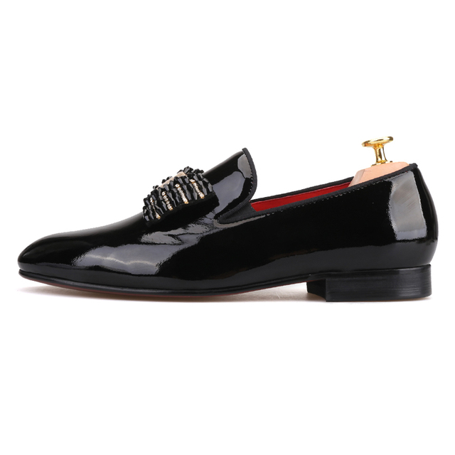 Black patent leather men handmade loafers with black rhineston bowtie Fashion party and prom men dress shoes 1