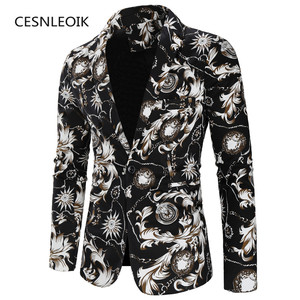 Male Suit Blazer Printed Men Slim Jacket Vintage Suits Fashion Luxury Formal wedding Dress Stage Costumes for Singers(China)