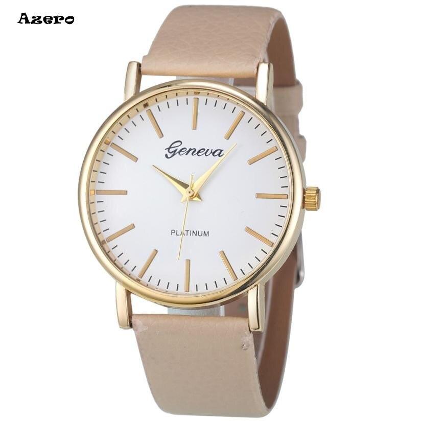 Geneva Fashion Simple Leisure Women Analog Leather Quartz Wrist Watch Watches Relogio Feminino Women Watches Reloj Mujer Bayan