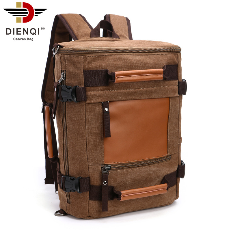 DIENQI Brand 2018 Canvas Backpack Travel Schoolbag Male Backpack Large Capacity Rucksack Shoulder Vintage Bag Mochila Escolar
