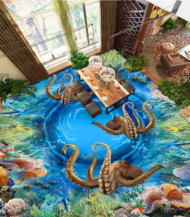 Custom mural 3d flooring picture pvc self adhesive wallpaper Sea octopus coral home decor painting 3d wall murals wallpaper custom mural 3d flooring picture pvc self adhesive european style marble texture parquet decor painting 3d wall murals wallpaper