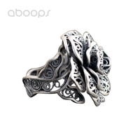 Vintage Solid 990 Sterling Silver Rose Flower Filigree Ring for Women Girls Adjustable Free Shipping