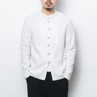 2019 Chinese wind cotton linen men's shirt spring new long sleeve collar button shirt comfortable saft high grade casual clothes