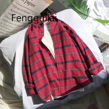 2019 Women Fashion Brand Autumn Korea BF Style Ulzzang Vintage Simple Plaid Long Sleeve Shirt Female Casual Loose Lovers