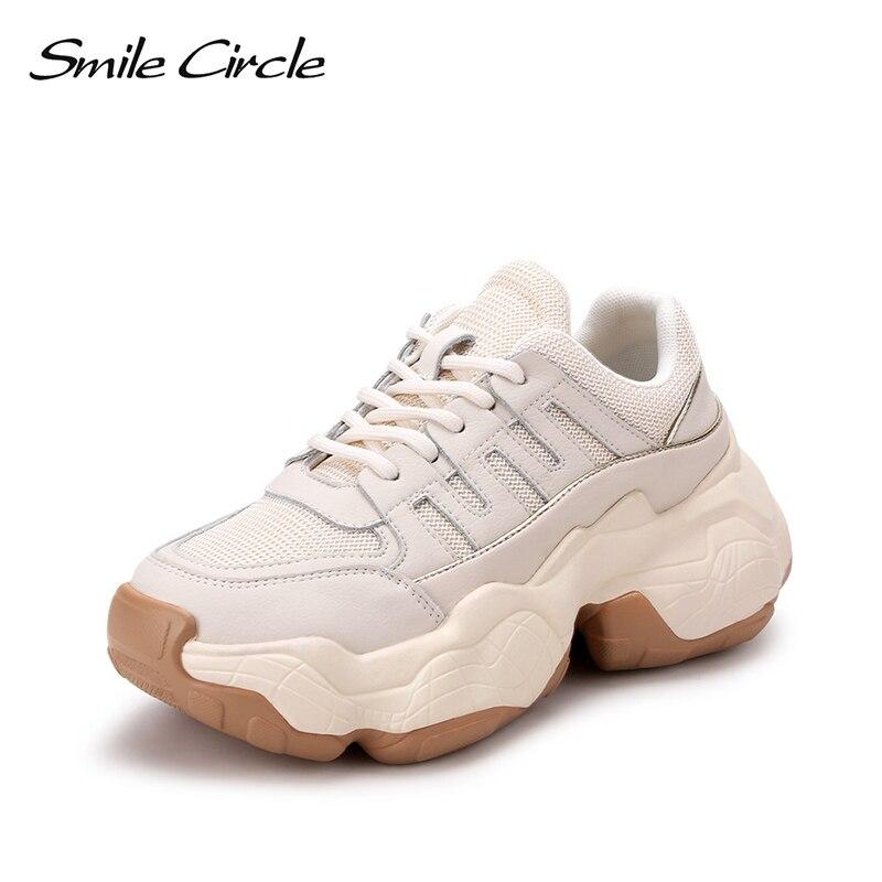 Uśmiech koło trampki damskie płaskie buty wiosna nowe oryginalne skórzane na co dzień oddychająca siatka damskie platformy buty studenckie w Damskie buty z gumową podeszwą od Buty na  Grupa 1