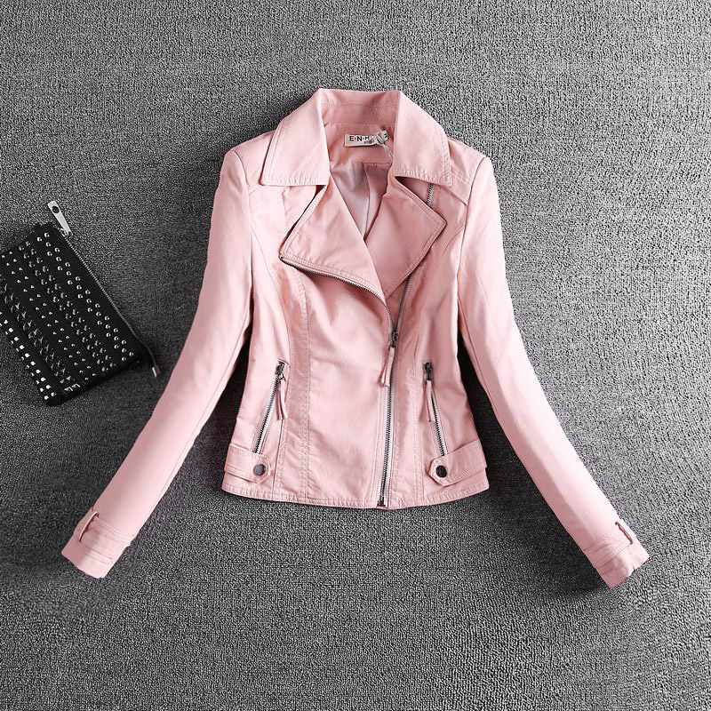 2018 Real Women   Leather   Jacket 2xl 3xl Grey Pu   Leather   Increased Female Korean Locomotive Small Zippers Turn Down Collar Jacket