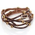Nova multilayer envoltório pulseiras de couro pulseira de couro, fivela com pulseira de cristal, bling bling pulseiras de couro de ouro fino 50563