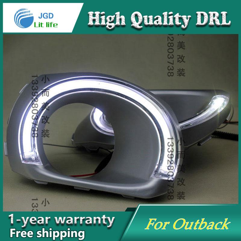 Free shipping ! 12V 6000k LED DRL Daytime running light case for Subaru Outback fog lamp frame Fog light Car styling