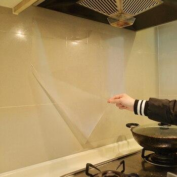 Transparan Hood Anti Minyak Stiker Dinding untuk Dapur Furniture Seni Mural Ubin Dekorasi Rumah Kaca Film Perlindungan Panas tahan
