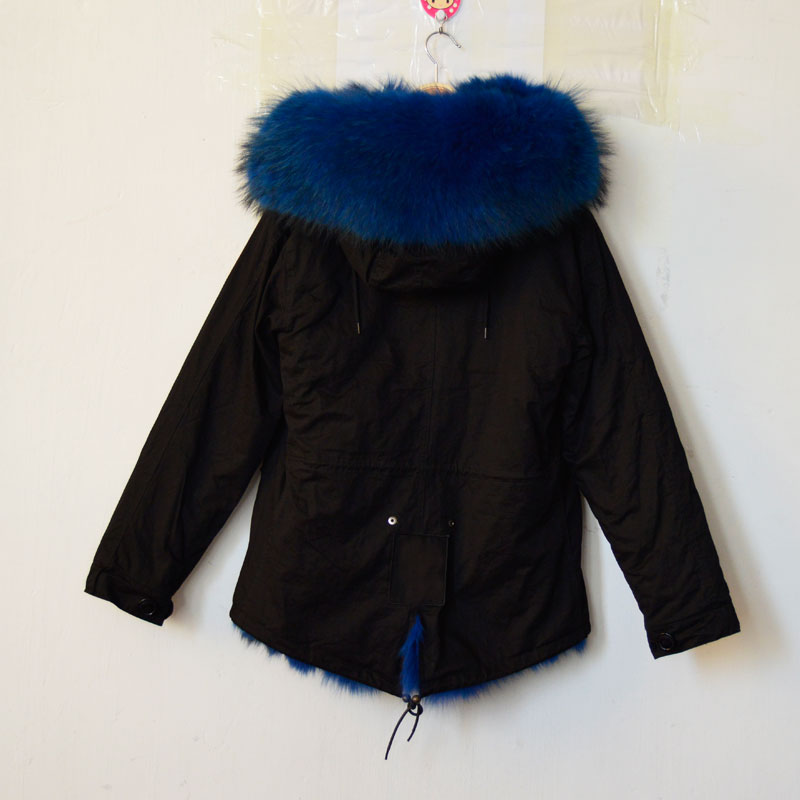 Black parka, blue fox fur,real blue fox fur,real natual fully fox ...