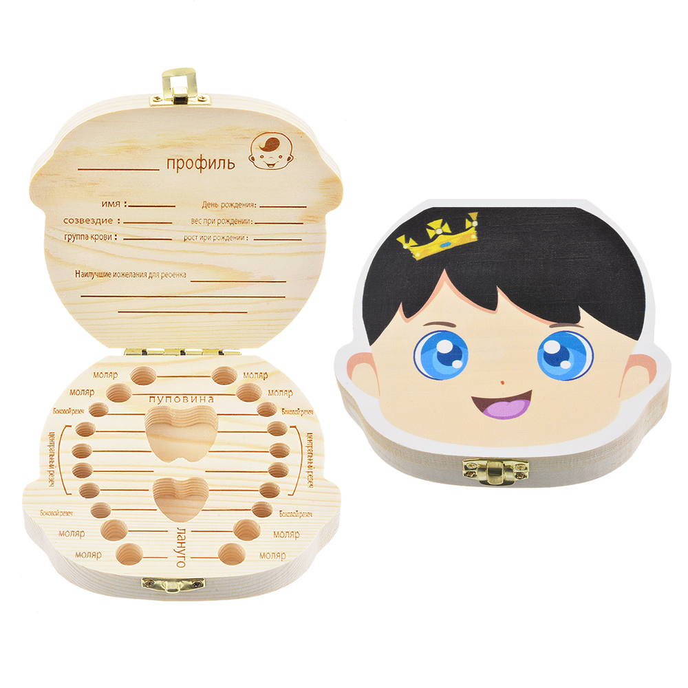 Organizer Collect Tooth-Box Milk-Teeth-Storage Gifts Wood Baby News Save Russian English