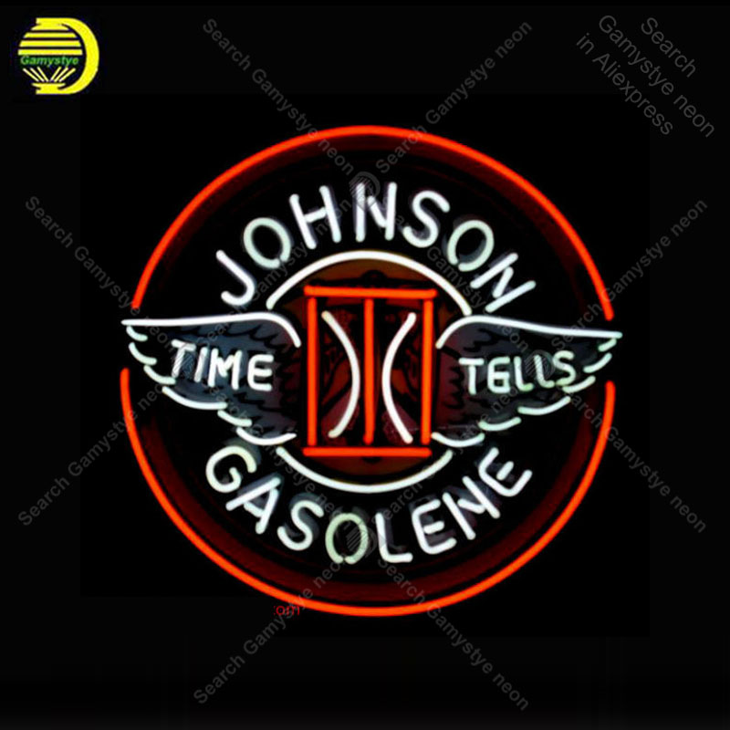 US $236 21 21% OFF|Neon Sign for Johnson Gasoline neon bulb Sign Time tells  Neon lights Sign glass Tube Iconic Light Store display print LOGO board-in
