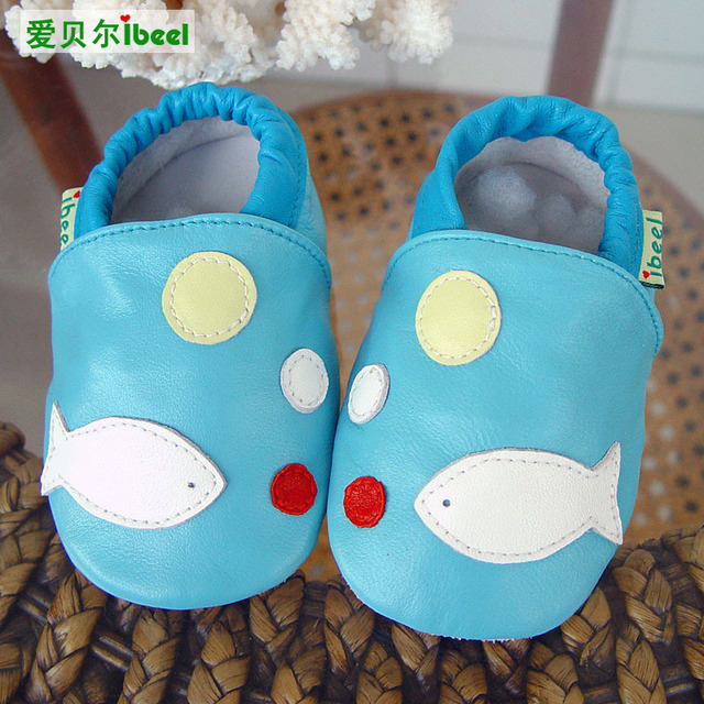 Wholesale 0-2 Yrs Old Baby Genuine Leather Moccasins Sky Blue/Light Green Ocean Fish Baby Soft Bottom Shoe Infants First Walkers