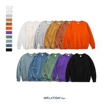 INFLATION 2019 Winter Mens Hip Hop Sweatshirts Velvet Fabrics Fleece 10 Solid Color Men Thick 166W17