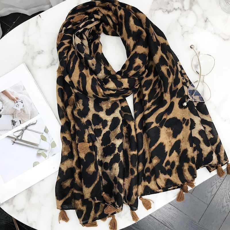 Модный дизайн леопардовые пятна кистовидная Вискоза Шаль Шарф женский высококачественный шейный платок осень зима Foulards мусульманский хиджаб Sjaal