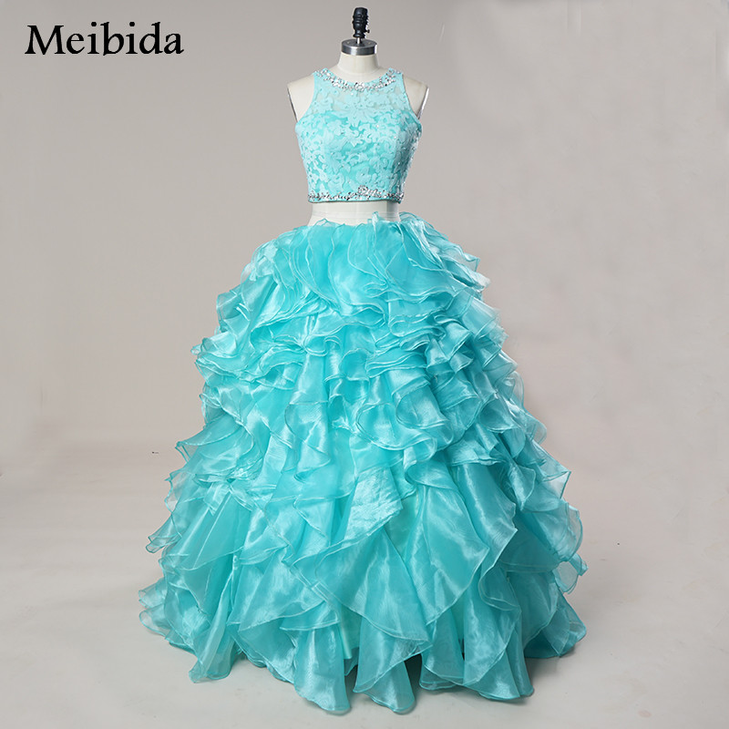 Vestidos De 15 Anos Debutante Gown Cheap Puffy Ball Gown Coral Quinceanera Dresses 2017 Two Pieces Sweet 16 Dresses 15 Years