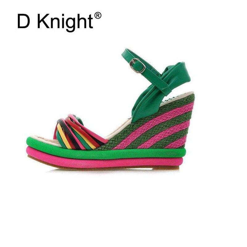 30c0009981be ... Gladiator Sandals Women 2018 Summer Bohemia Color Block Women Wedges  Sandals Straw Braid Platform Wedge High ...