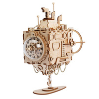 Robotime DIY 3D Puzzle Wood Steampunk Music Box Assembled Wooden Submarine Model Toys for Children Adult Educational Puzzles