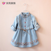 ФОТО 2017 new baby cowboy dress spring autumn girls children's clothing children embroidery dual-use sleeve dresses for children girl