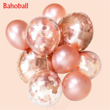 Rose Gold Confetti Latex Balloons Heart Balloon Foil Champagne Star Balloons Wedding Party Decor Birthday Party Decoration Kids 12inch gold latex balloons heart foil balloons confetti balloon patry balloons wedding birthday party decor globos supplies