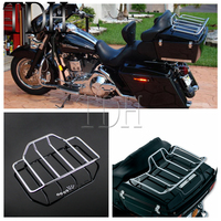 Chrome Motorcycle Tour Pak Pack Luggage Top Rack Rail Case For Harley Touring Road King Street Glide