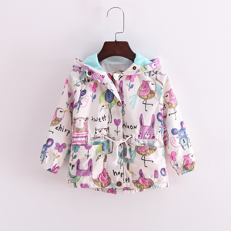 2016 New Arrival Children Autumn and Winter Long sleeve Outwear For Girls Baby girl Clothes Kids Cartoon Printing Fashion Coats