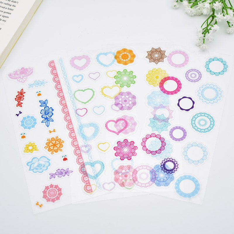 4 sheets/lot DIY Cute Kawaii Rainbow Lace PVC Sticker Lovely Heart Stickers For Scrapbooking Decoration Diary Student 3317