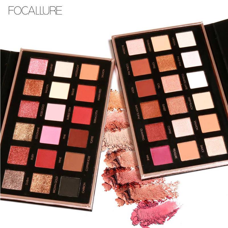 Venta caliente Focallure maquillaje Glitter Eyeshadow Palette 18 colores tierra desnuda Shimmer Eyeshadow pigmento impermeable largo maquillaje belleza