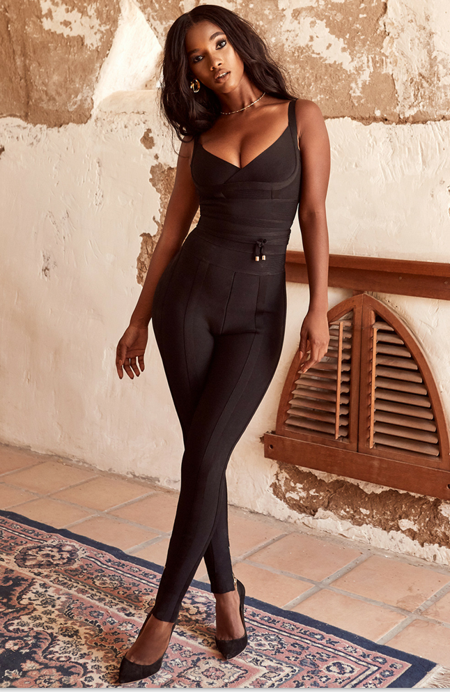 Top Quality Black Slip Sleeveless Sexy Rayon Bandage   Jumpsuit   Evening Party Bodycon   Jumpsuit