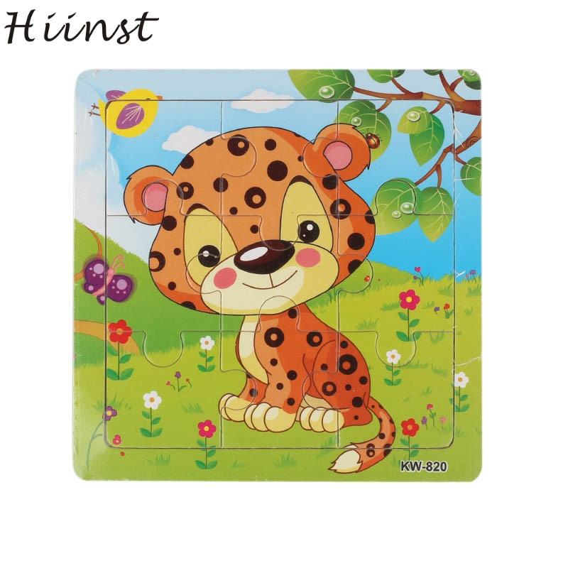 HIINST toys kids 2017 Wooden Leopard Jigsaw Toys For Kids Education And Learning Puzzles Toys wholesale*R Drop