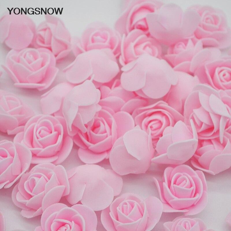 50 шт. 3 см роза цветы Искусственные пенополиэтилен головка цветка DIY Главная Свадебные украшения Скрапбукинг Craft поддельные цветок помпоном Роза