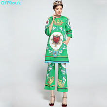 QYFCIOUFU High Quality Women Two Piece Set Beading Printed Long Sleeves Tops And Blouses Loose Casual