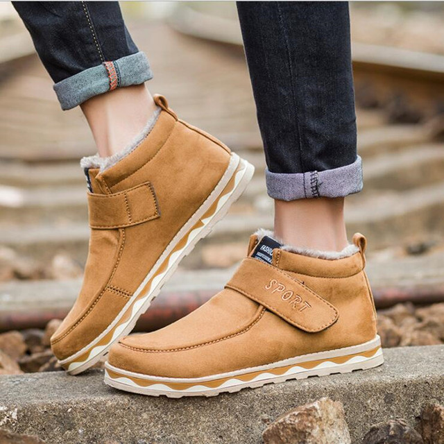 45af54c253b US $23.99 |2017 New Men's Winter Shoes Fashion Flats Warm Man Ankle Boots  Plush Soft Snow Boots Men Casual Cotton Shoes-in Snow Boots from Shoes on  ...