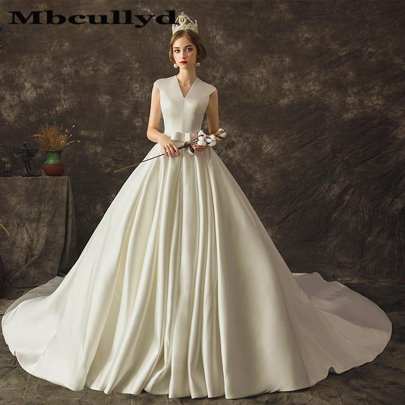 Satin Wedding Dress 2019: Mbcully Ball Gown Wedding Dresses 2019 New Luxury Satin