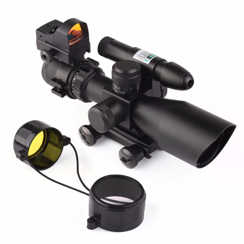 VERY100 NEW 2.5-10X40 Tactical Rifle Scope w/ Green Laser & Mini Reflex 3 MOA Red Dot Sight Free Shipping! very100 new tactical reflex 3 10x 40 red green dot reticle sight rifle scope