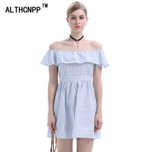 ALTHCNPP Striped Summer 2018 Sweet Slash Neck Ruffle Sexy Ladies Dresses  Robe ef27e313defe